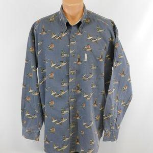 Columbia Waterfowl theme long sleeve button down shirt.  XL